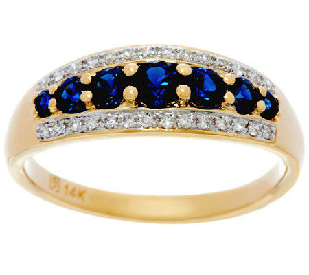 Ruby, Emerald or Sapphire & Diamond Band Ring, 14K Gold 0.50 cttw