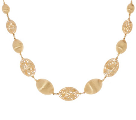"Arte d'Oro 20"" Satin Graduated Oval Bead Necklace 18K Gold 39.5g"