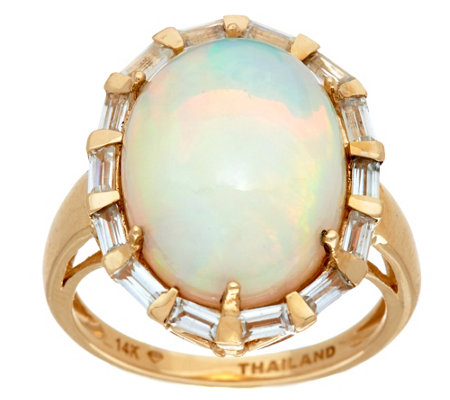 """As Is"" Ethiopian Opal & Baguette White Zircon Bold Ring, 14K"