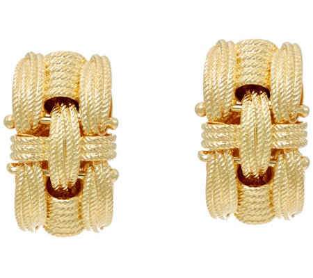 """As Is"" Vicenza Silver Sterling Textured Woven Omega Back Earrings"