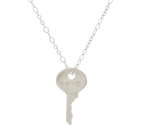 "The Giving Keys Silvertone 'LOVE' Key Pendant with 30"" Cable Chain"