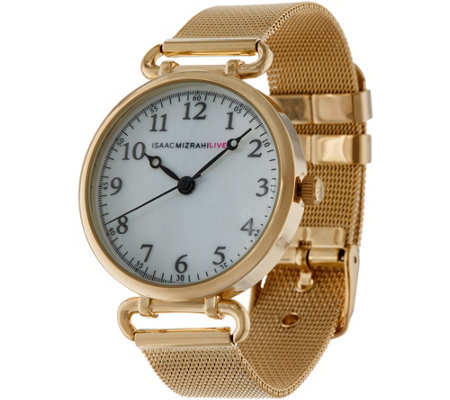 Isaac Mizrahi Live! Mesh Strap Watch with Round Dial