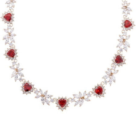 Grace Kelly Collection Simulated Diamond & Ruby Hearts Necklace