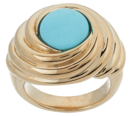 """As Is"" 14K Gold Sleeping Beauty Turquoise Swirl Ring"