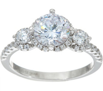 diamonique three stone bridal ring platinum clad j347120 - Diamonique Wedding Rings
