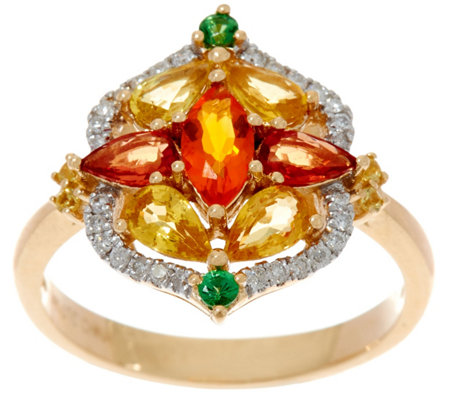 Fire Opal & Sapphire Cluster Diamond Ring, 14K Gold 1.95 ct