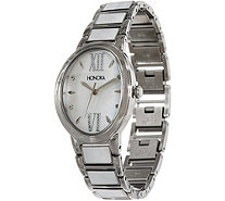 Honora White Mother-of-Pearl Oval Case Bracelet Watch Stainless Steel - J350620