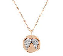 Diamonique Motif Pendant with Chain 14K Rose Clad - J350920