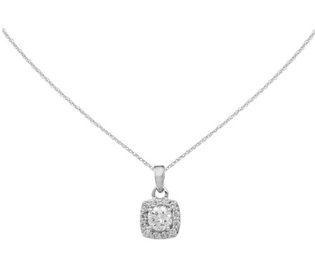 Diamond Square Pendant w/ Chain, 14K, 3/10 cttw, by Affinity