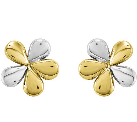 14K Gold Two-Tone Flower Earrings