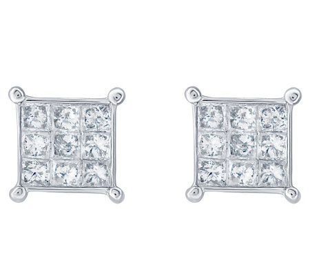 Affinity 14K 1/2 cttw Princess-Cut Invisible-Set Stud Earring
