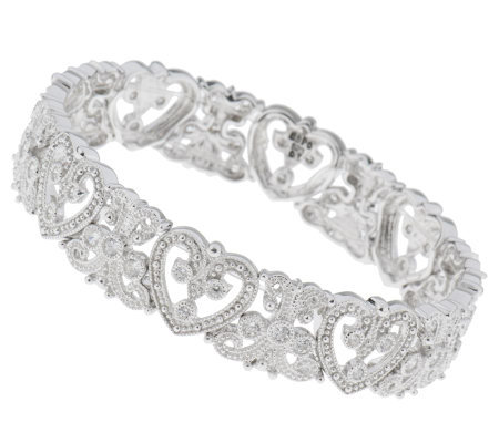Esposito Diamonique Sterling 2.10 cttw Heart StretchBracelet