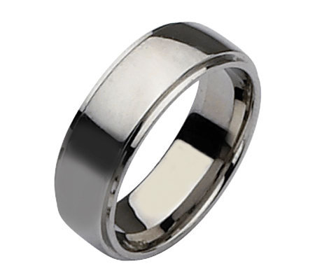 Stainless Steel Ridged Edge 8mm Polished Ring