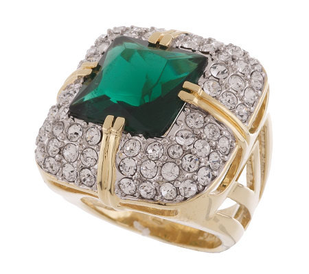 Rachel Zoe Simulated Emerald and Pave' Ring