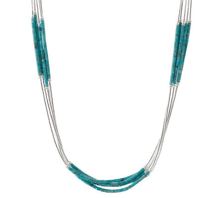 Southwestern Sterling Liquid Silver & Turquoise Heishi Necklace