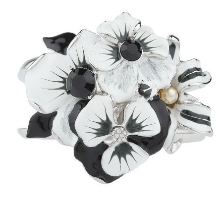 Kenneth Jay Lane's Enamel Flower Corsage Bangle Bracelet