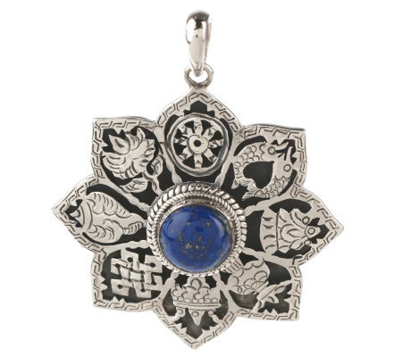 Artisan Crafted Sterling Lapis Eight Auspicious Signs Pendant