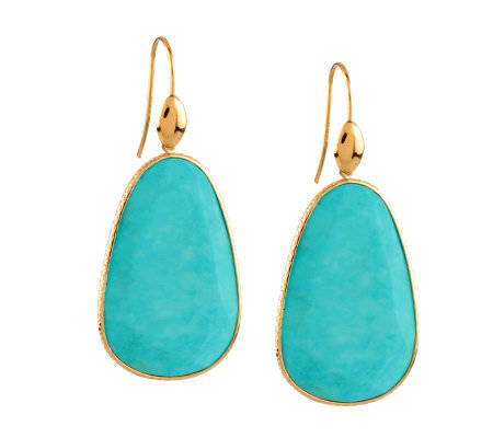Organic Shaped Gemstone Dangle Earrings 14K Gold