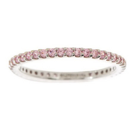 Diamonique Micro Pave' Colorful Eternity Band Ring, Sterling