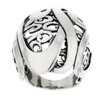 Carolyn Pollack Sterling Signature Domed Scroll Ring