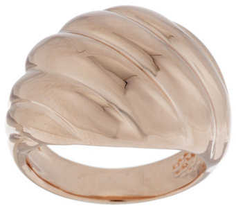 Bronze Polished Ribbed Twist Domed Ring by Bronzo Italia - J288721