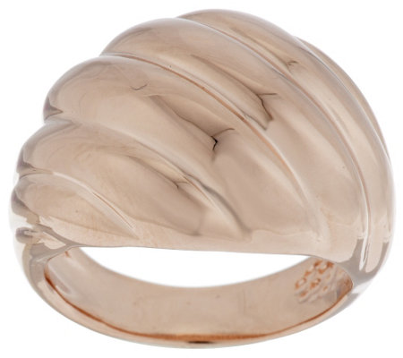 Bronze Polished Ribbed Twist Domed Ring by Bronzo Italia