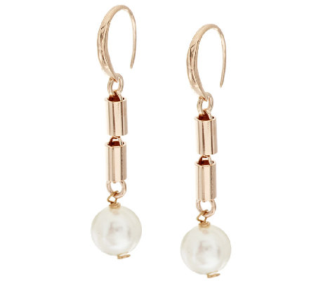 Honora Cultured Pearl 10.0mm Bronze Bar Drop Earrings