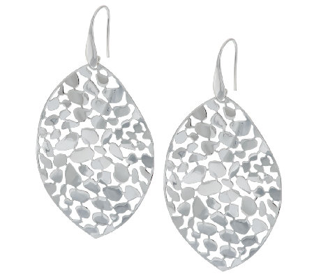 Vicenza Silver Sterling Bold Pebble Design Marquise Shaped Dangle Earrings