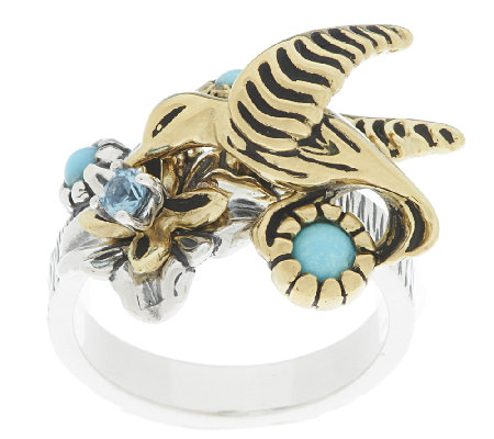 Sterling/Brass Hummingbird Turquoise Ring by Fritz Casuse