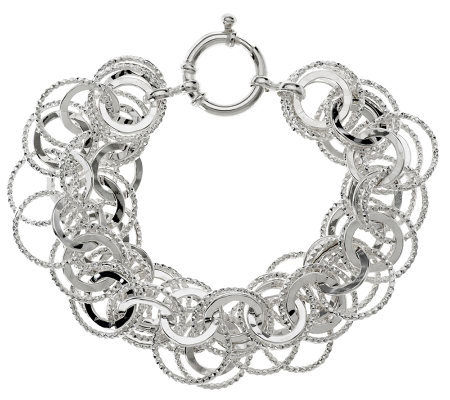 """As Is"" Sterling 7-1/4"" Polished and Textured Bracelet, 20.5g"