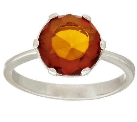 Faceted Baltic Amber Sterling Ring