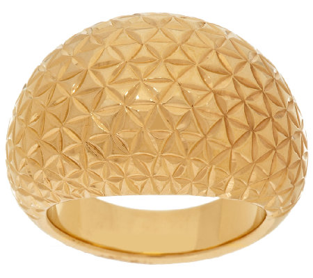 Bold Polished Diamond Cut Domed Ring, 14K