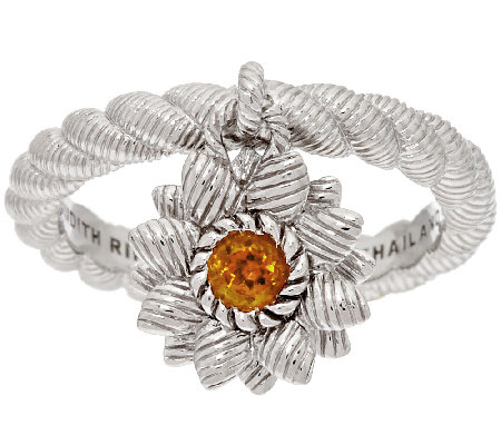 Judith Ripka Sterling Citrine Flower Charm Ring