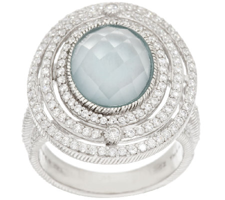 Judith Ripka Sterling & Diamonique 4.00 ct Frosted Blue Topaz Ring