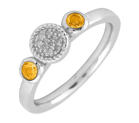 Simply Stacks Sterling & Double Round Citrine Diamond Ring