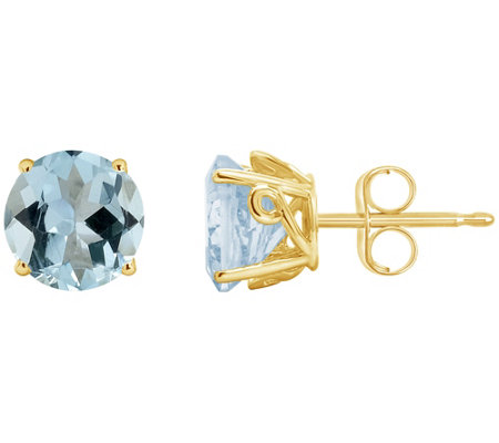 2.00 ct tw Aquamarine Fancy Gemstone Stud Earrings, 14K Gold