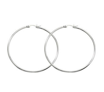 "Stainless Steel Polished 2-3/8"" Hoop Earrings - J302221"