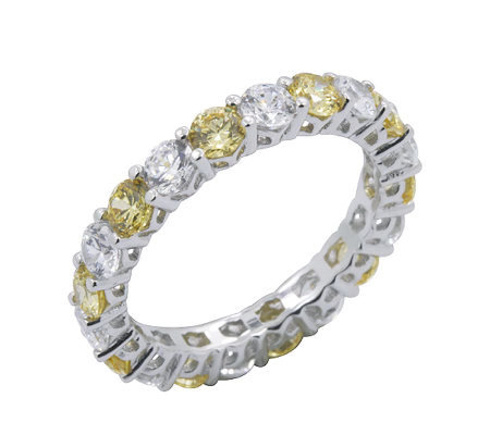 Diamonique & Canary Eternity Band Ring, Platinum Clad
