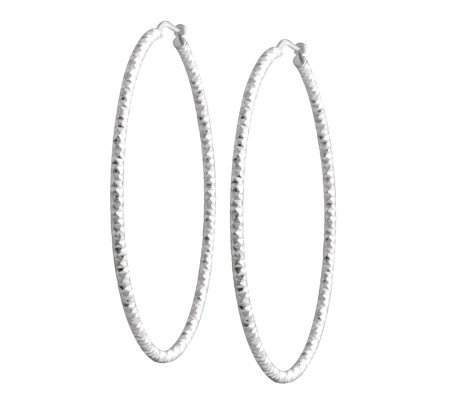 "UltraFine Silver 2"" Diamond-Cut Round Hoop Earrings"