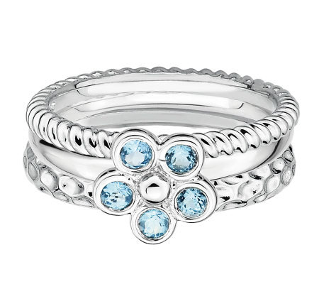 Simply Stacks Sterling Blue Topaz Flower Ring Set