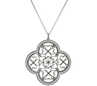 "Vicenza Silver Sterling Pave' Glitter Pendant with 18"" Chain - J317421"