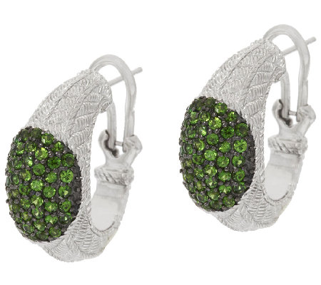 Judith Ripka Sterling Chrome Diopside Hoop Earrings