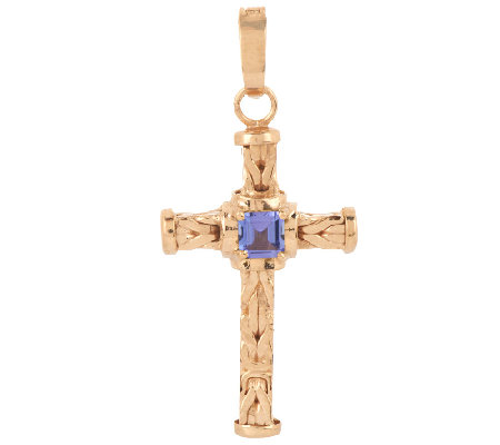 14K Gold 0.25 ct Tanzanite Byzantine Cross Enhancer