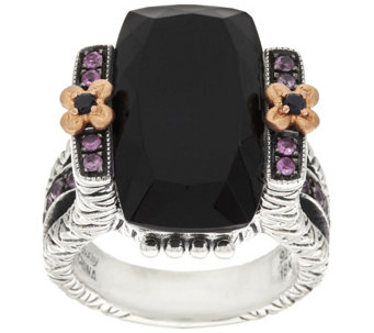 Barbara Bixby Sterling & 18K Black Onyx & 0.20 ct Pink Sapphire Ring - J318621