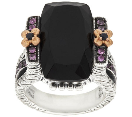 Barbara Bixby Sterling & 18K Black Onyx & 0.20 ct Pink Sapphire Ring