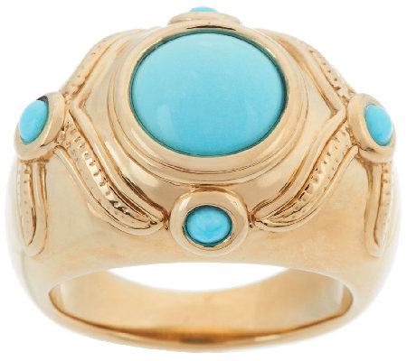14K Gold Sleeping Beauty Turquoise Polished Ring