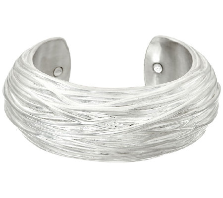 Sterling Silver Bold Textured Cuff by Or Paz