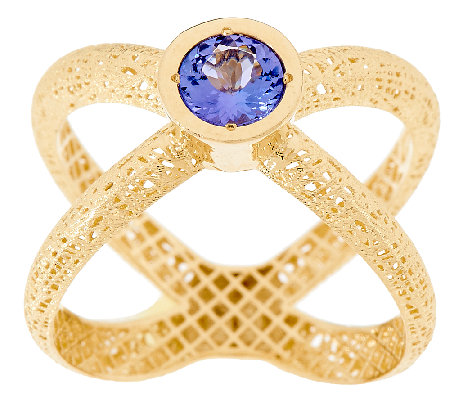 14K Gold Tanzanite Textured X-Ring