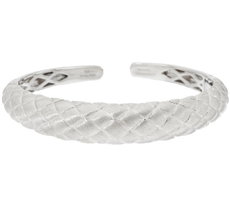 Michael Dawkins Sterling Silver Quilted Texture Wide Hinged Cuff Bracelet