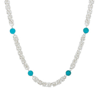 "Sterling Silver 20"" Byzantine & Turquoise Necklace by Silver Style - J322021"